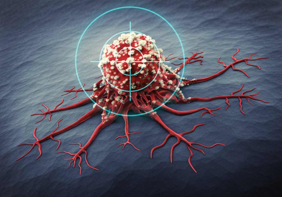Obraz mikroskopowy komórki rakowej.