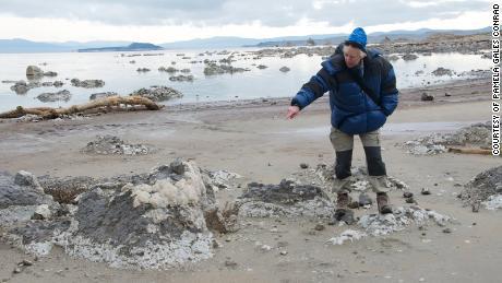 Ksiądz odwiedził naukowca Mono Lake w Kalifornii.