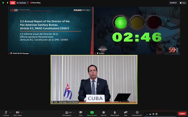 Minister Zdrowia Publicznego Kuby uczestniczy w pięćdziesiątym dziewiątym posiedzeniu Rady Sterującej Panamerykańskiej Organizacji Zdrowia - PAHO/WHO